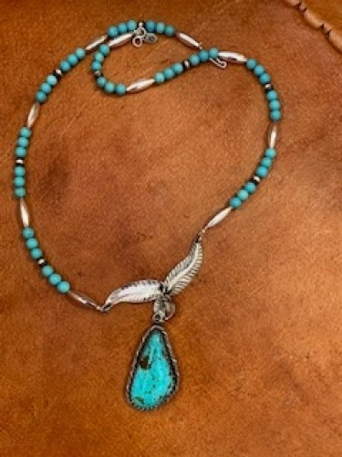 Sterling Leaf and Compitos Turquoise Pendant by Charles Wendt
