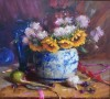 Chinese Vase, Sunflowers and Mums by Mary Dolph Wood