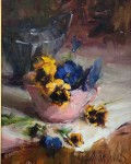 Pansies in a Pink Cup #  by Mary Dolph Wood