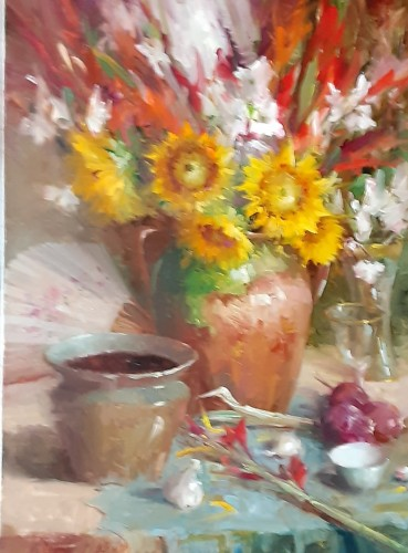 Arrangements with Sunflowers, Glads and Dogwood by Mary Dolph Wood