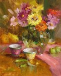 Zinnias and Chinese #  by Mary Dolph Wood