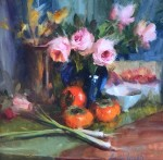 Persimmons and Pink Roses #  by Mary Dolph Wood