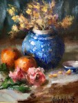 Orange and Blue Still Life #  by Mary Dolph Wood