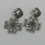 28-17 Hand stamped Cross earring #  by Charles Wendt