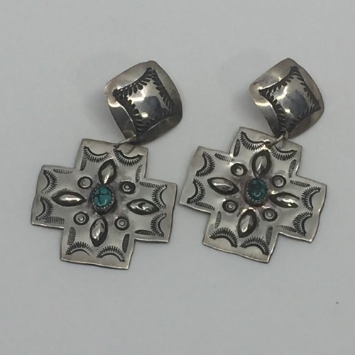 28-17 Hand stamped Cross earring by Charles Wendt