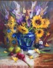 Sunflower in Cobalt Vase by Mary Dolph Wood